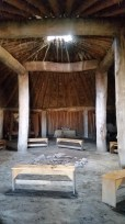 Inside the earthen home at the Archway.
